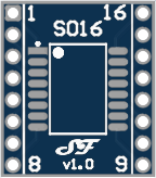 SOIC16 or TSSOP16 to DIL Adapter